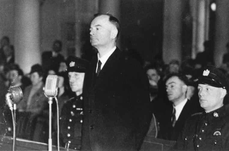 Anton Mussert voor het Haags Bijzonder Gerechtshof, 1945. Beeld anp