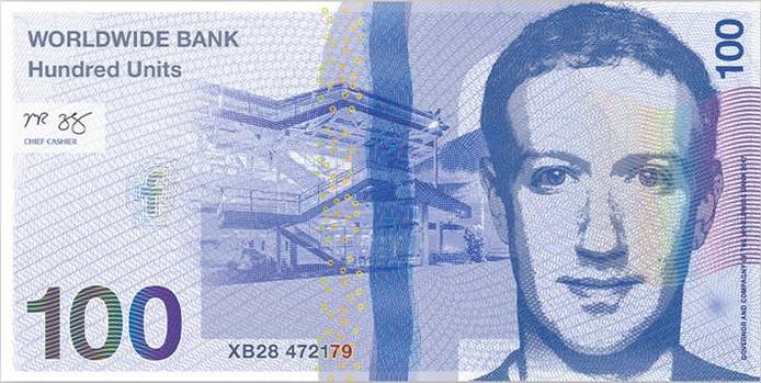 Een van de zeven biljetten met top-ceo's erop.