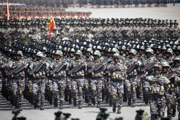 Het Noord-Koreaanse leger tijdens een militaire parade vorige week.