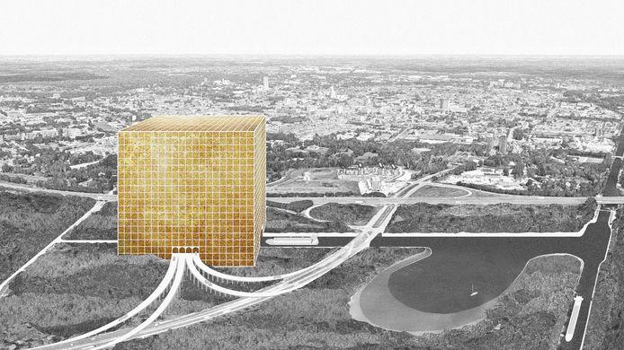 Idee: een kolossale kubus als mega-distributiecentrum, nabij knooppunt De Baars in Tilburg. Een van de vier geslecteerde ontwerpen die te zien zijn in een expositie in de LocHal.