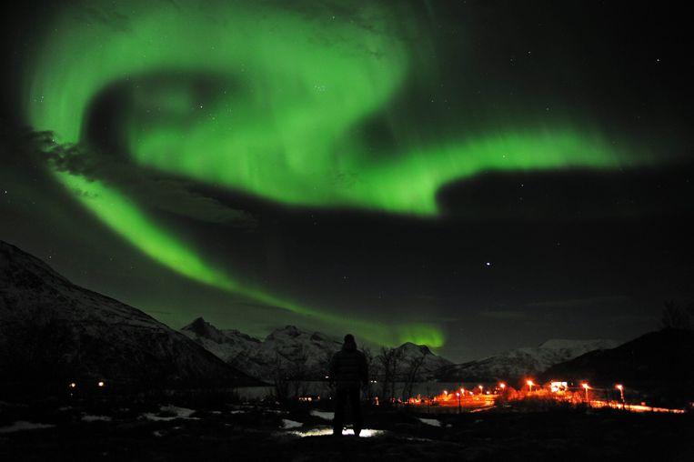 Het Noorderlicht in de buurt van Tromsoe, Noorwegen.  Beeld EPA