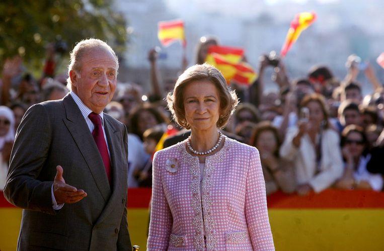 Juan Carlos en z'n echtgenote koningin Sofia.