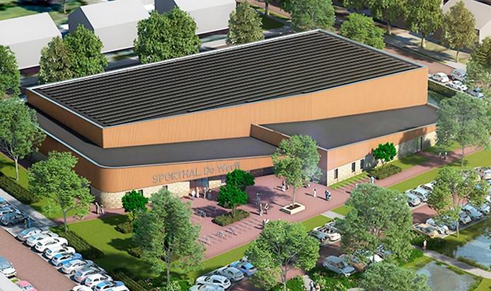 Op het dak van de nieuwe sporthal De Werft in Kaatsheuvel komen 224 zonnepanelen.