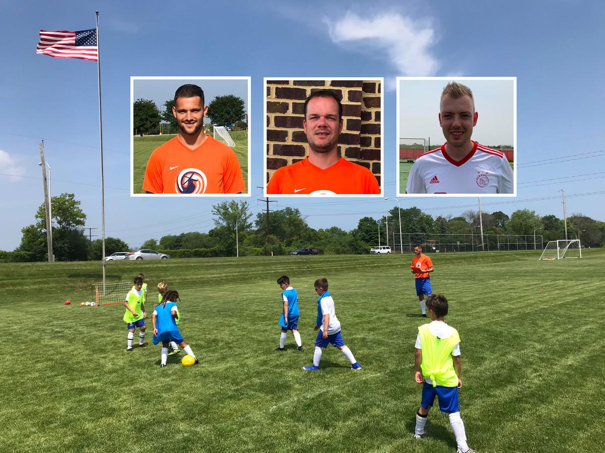 Op het trainingsveld in Milwaukee. Inzet: Luc Martens, Tom Nieuwelink en Bart van Wuyckhuyse.