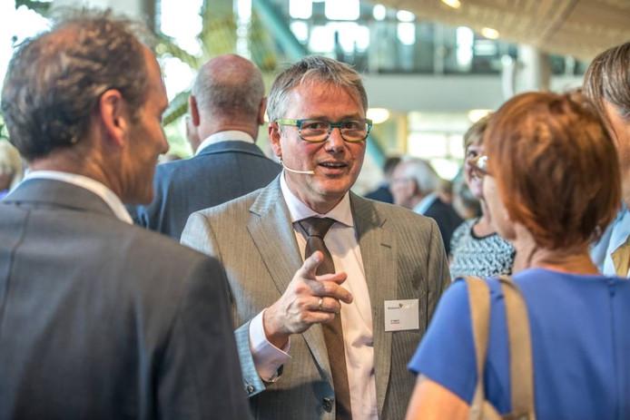 De nieuwe bestuursvoorzitter Henk Hagoort opende vanmiddag het nieuwe hogeschooljaar op Hogeschool Windesheim in Zwole. Foto Frans Paalman