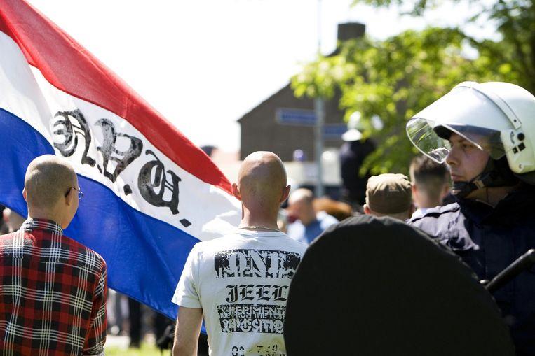Een demonstratie van de Nederlandse Volks-Unie in 2009. Beeld anp