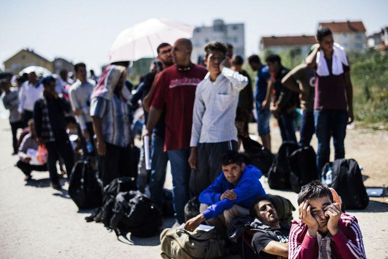 Migranten wachten in Servië tot ze door mogen naar Hongarije, Kroatië of Roemenië. Beeld afp