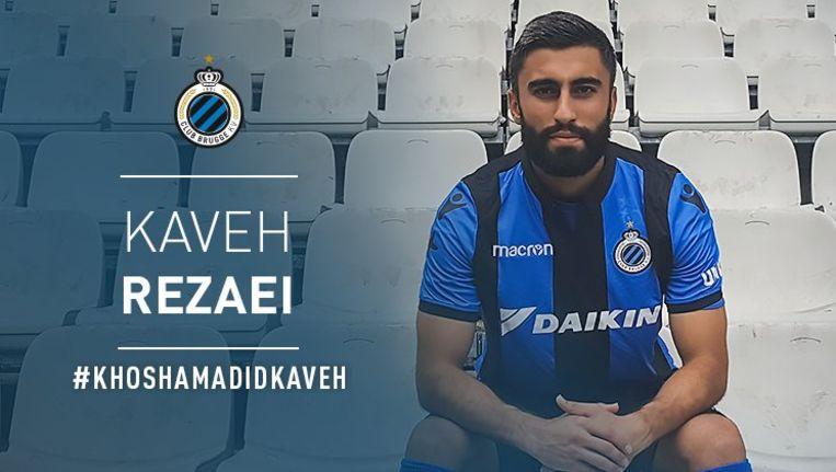 Kaveh Rezaei poseert als kersvers aanwinst van Club Brugge.