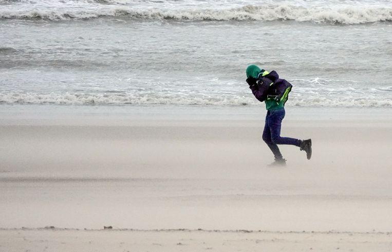 Een durfal waagt zich op het strand van Oostende.