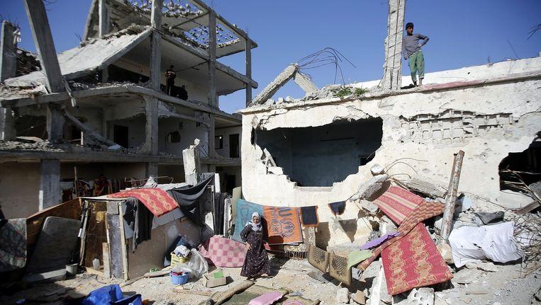 Een door Israël verwoest gebouw in de Gazastrook