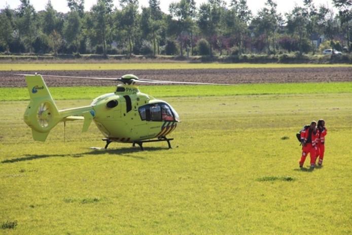 De landing van de traumahelikopter