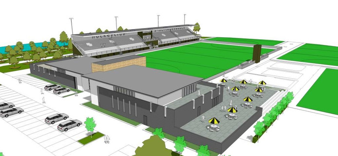 Een impressiebeeld van het toekomstige complex van hockeyclub Den Bosch.