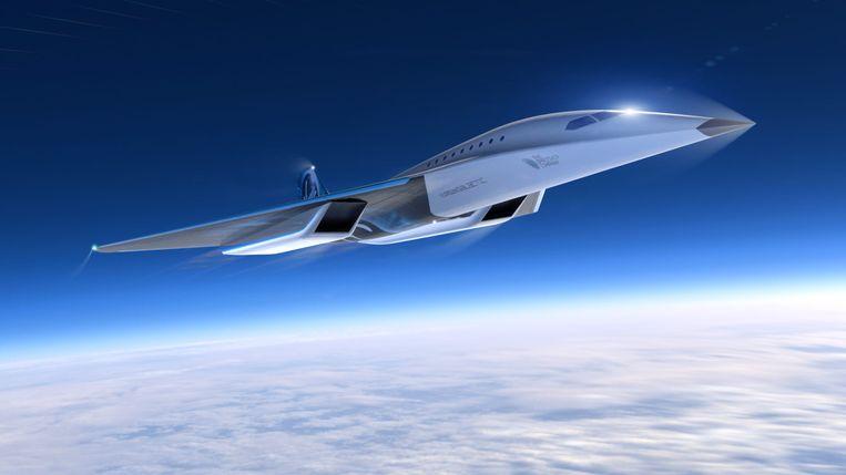 Het ontwerp van het nieuwe supersonische passagierstoestel van Virgin Galactic.