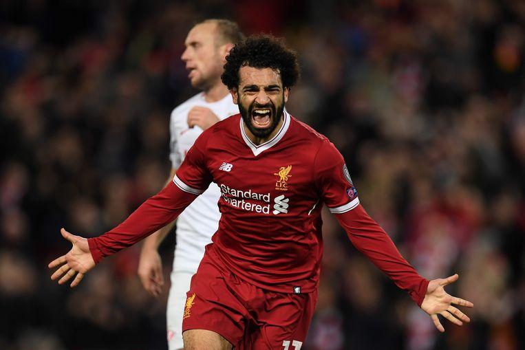 Ook in de Champions League trof Salah regelmatig de netten, zoals hier tegen Spartak Moskou.