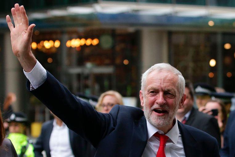 Jeremy Corbyn vrijdagochtend. Beeld afp