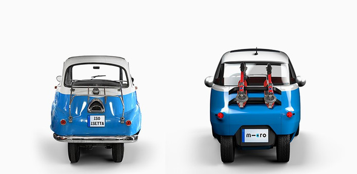Ruim 60 jaar zit er tussen de Isetta en de elektrische Microlino.