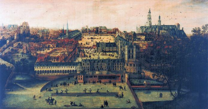 Zicht op het Coudenbergpaleis in Brussel door Lucas Gassel, een schilderij uit omstreeks 1540. Het hangt in het Museum van de Stad Brussel.