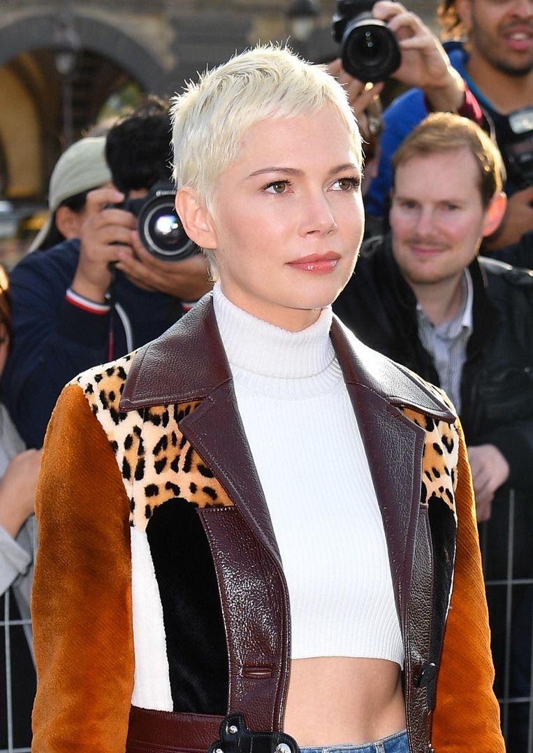 Michelle Williams tijdens de Fashion Week in Parijs op 3 oktober.
