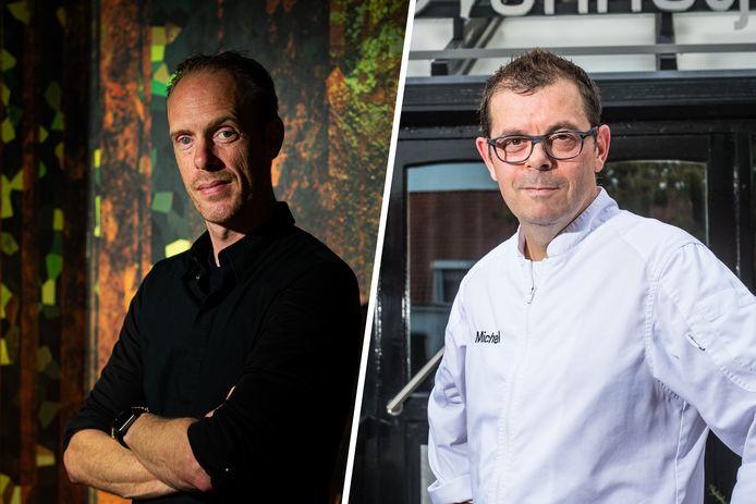 Chefkok/eigenaar Peter Gast van restaurant Graphite in Amsterdam (links) en chefkok Michel van der Kroft van tweesterrenrestaurant 't Nonnetje in Harderwijk.