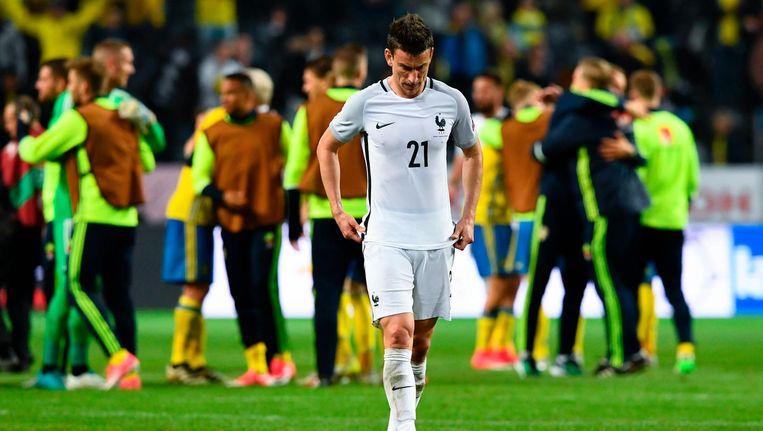 De Franse verdediger Laurent Koscielny druipt af. Beeld afp