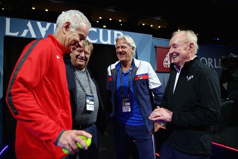 John McEnroe, Bjorn Borg en Rod Laver vorig jaar op de Laver Cup in Tsjechië.
