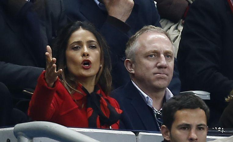 Francois-Henri Pinault, de eigenaar van Stade Rennes, en zijn vrouw, actrice Salma Hayek tijdens de verloren bekerfinale van 2014.