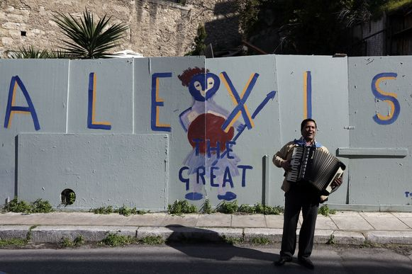 Alexis the great, graffiti naar de voornaam van premier Tsipras, in Athene.