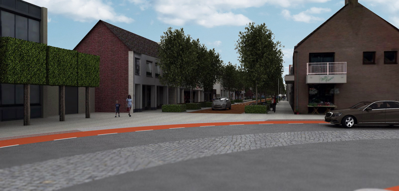 Een impressie van de nieuwe toegang tot het centrum van Goirle via de Tilburgseweg.