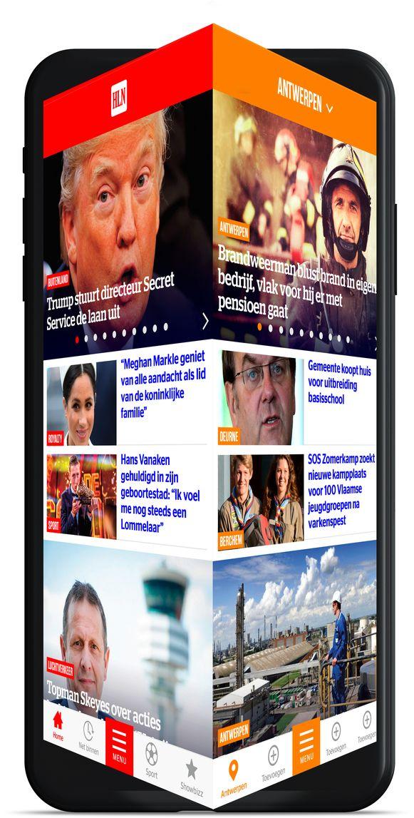 De nieuwe HLN-app telt naast Fun nog drie andere werelden: Nieuws, In de buurt en Video. Hierboven afgebeeld: Nieuws en In de buurt. Je duikt van de ene in de andere wereld door eenvoudigweg met je vinger te swipen naar links of naar rechts.