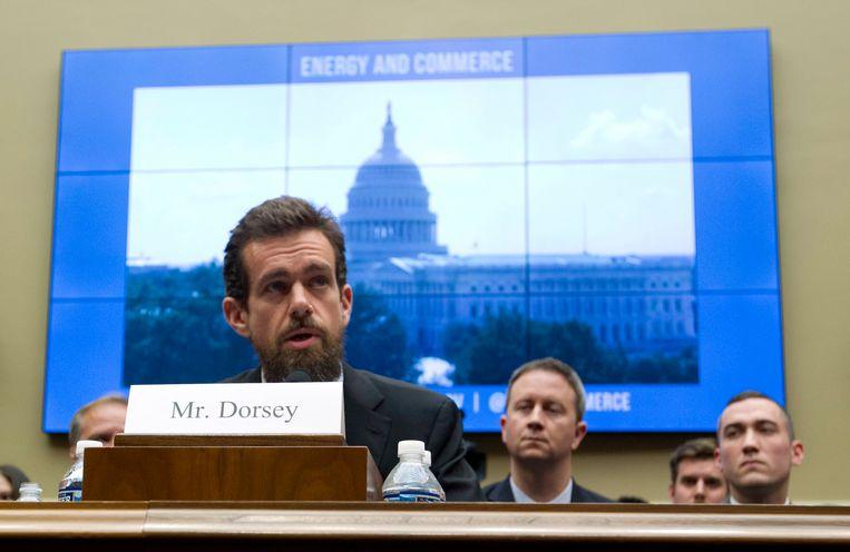 Twitter CEO Jack Dorsey getuigt in het Amerikaans Congres.