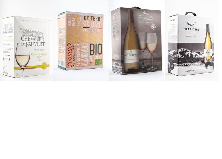 Witte wijnen, van links naar rechts: Chevalier de Fauvert, Il Gran Giardino Bio, McQuillan's en Trapiche.