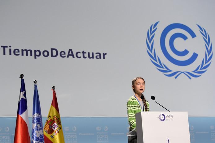 Greta Thunberg tijdens haar toespraak op de Klimaattop in Madrid, eerder vandaag.