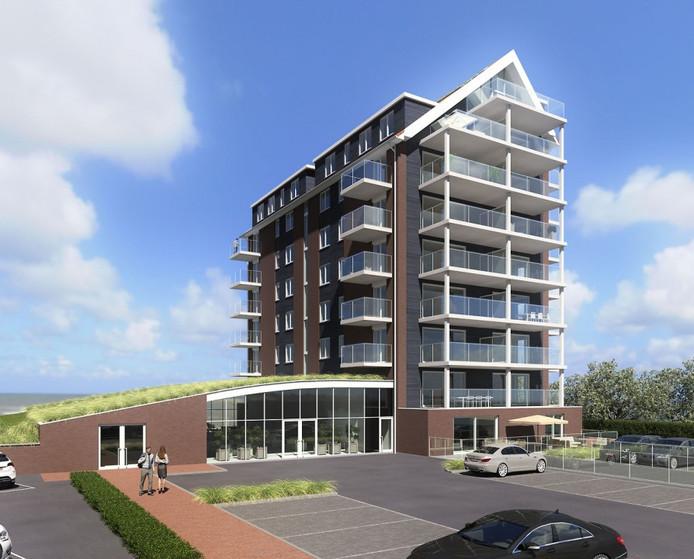 Het ontwerp van de derde en laatste woontoren van De Zaete in Yerseke. Links is het onthaal te zien. Aan de Oosterscheldekant komt een restaurant met terras aan het water.