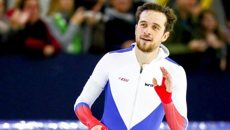 De Russische schaatser Denis Joeskov, die al eerder geschorst werd wegens het gebruik van doping. Beeld null