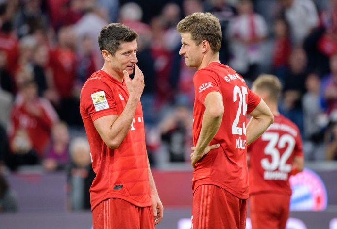 Robert Lewandowski en Thomas Müller balen.