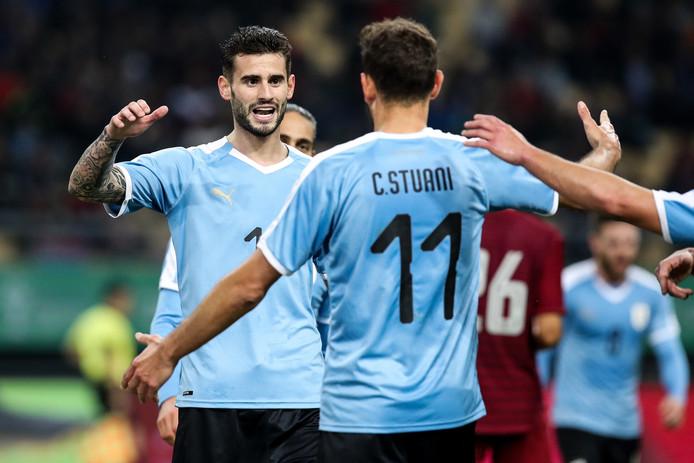 Gastón Pereiro viert zijn doelpunt.