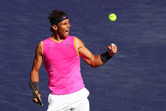Rafael Nadal juicht na het bereiken van de halve finale in Indian Wells.