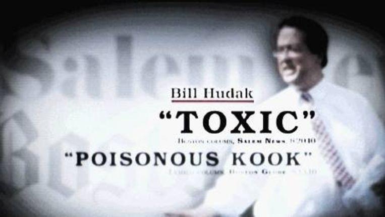 Een televisieadvertentie van de Democraten waarin de Republikein Bill Hudak wordt neergezet als 'giftige lijpo'. (ELLEN KOK ) Beeld