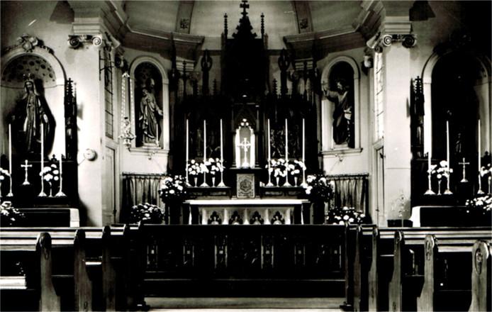 Een beeld van de kapel van het Nazareth-klooster in Gemert in vroegere tijden.