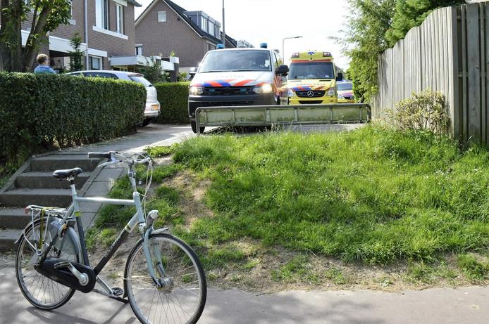De fietser botste op een andere fietser toen hij van het trappetje afkwam.
