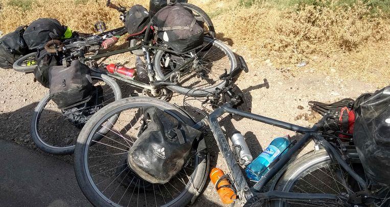 De fietsen van een groep toeristen op wie in 2018 een aanslag werd gepleegd in Tadzjikistan.