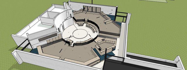 Op de halve cirkel waar de kerkbanken stonden, wordt een nieuwe vloer gelegd en daar zullen de kinderen op kunnen spelen.