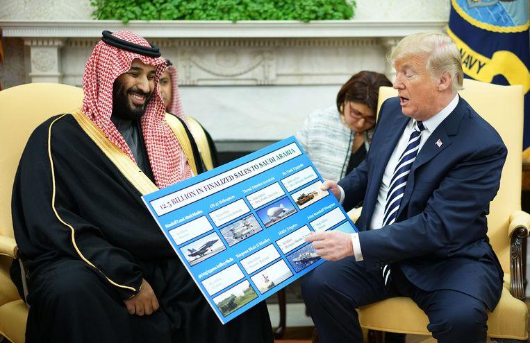 President Donald Trump en Kroonprins Mohammed bin Salman van Saoedi-Arabië tijdens een ontmoeting in het Witte Huis.