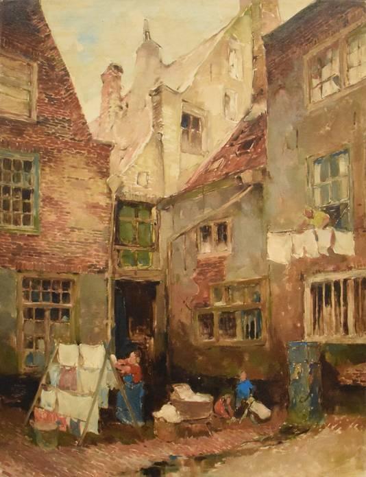 Achter den Arent, een schilderij dat Dio Rovers in 1947 maakte van een kenmerkend stukje Breda