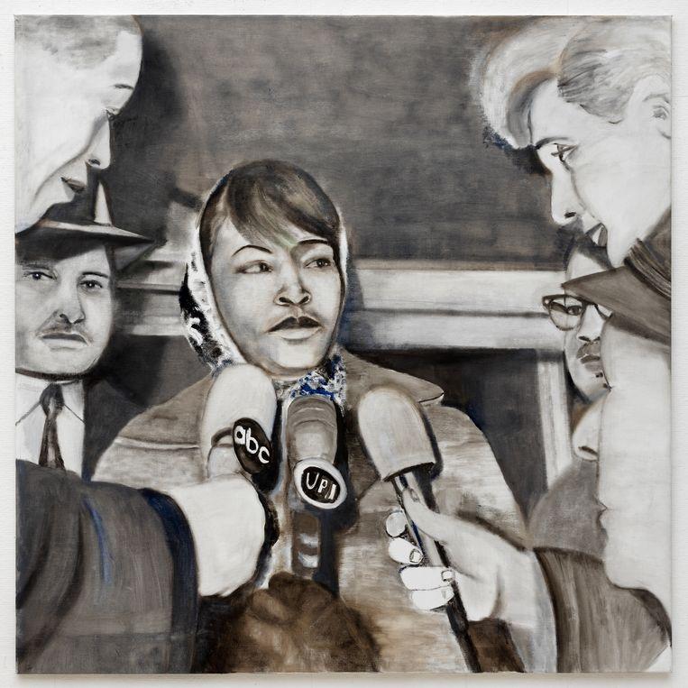 Iris Kensmil, February 21, 1965 (2017), detail uit een drieluik. De vrouw is burgerrechtenactivist Betty Shabazz vlak nadat haar man, de Afro-Amerikaanse moslimleider Malcolm X,  is doodgeschoten. Beeld Foto Gert-Jan van Rooij