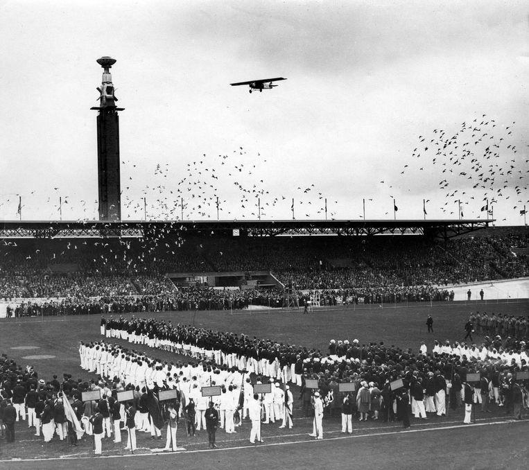 De opening van de Olympische Spelen van Amsterdam, 28 juli 1928. De eerste wedstrijd vond al op 17 mei plaats Beeld Spaarnestad