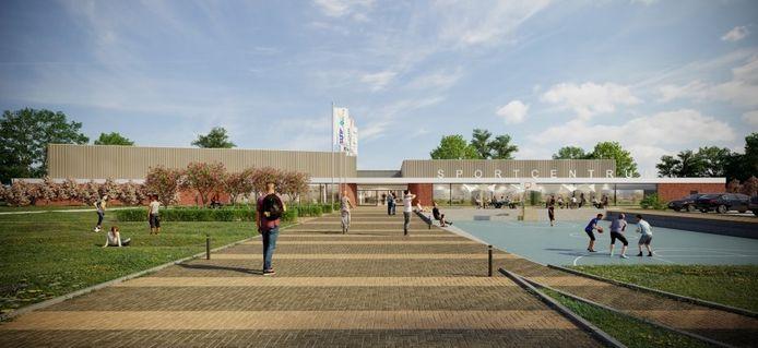 Een impressie van hoe het nieuwe sportcentrum van Kapelle er uit zou kunnen gaan zien. Maar dan moet de raad nog wel akkoord gaan met de extra 2,3 miljoen euro bouwkosten.