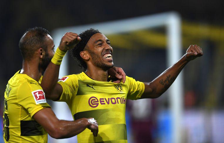 Aubameyang scoorde er dit weekend drie tegen Mönchengladbach.