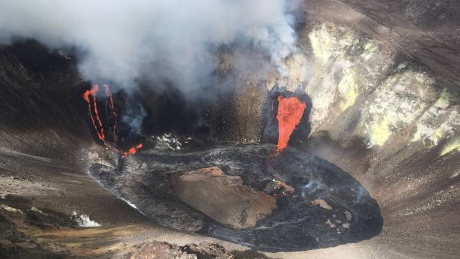 Vulkaan Kilauea op Hawaï barst uit