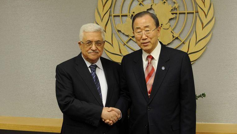 De Palestijnse president Mahmoud Abbas en secretaris-generaal van de VN Ban Ki-moon Beeld epa